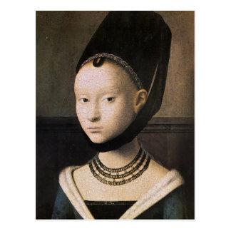 Cartão Postal Retrato de Petrus Christus de uma jovem mulher