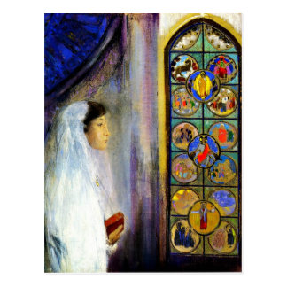Cartão Postal Retrato de Simone Fayet no comunhão santamente