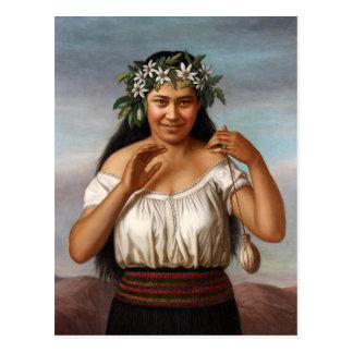 """Cartão Postal """"Retrato de Terewai Horomona"""" - G. Lindauer"""