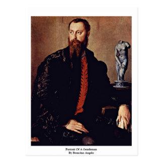 Cartão Postal Retrato de um cavalheiro por Bronzino Angelo