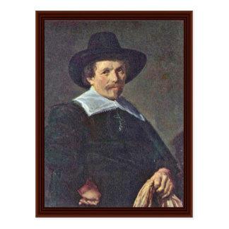 Cartão Postal Retrato de um homem com as luvas por Hals Frans