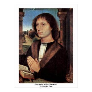 Cartão Postal Retrato de um homem (Giovanni) por Memling Hans