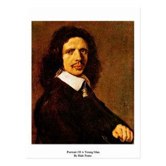 Cartão Postal Retrato de um homem novo por Hals Frans