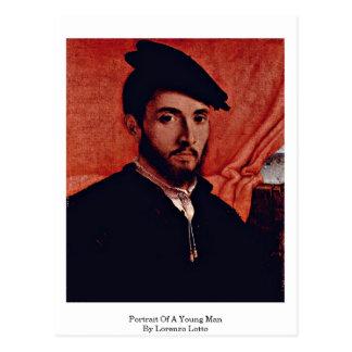 Cartão Postal Retrato de um homem novo por Lorenzo Lotto