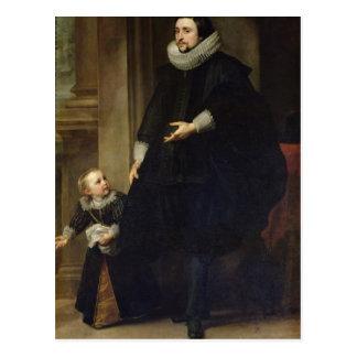 Cartão Postal Retrato de um nobre e de sua criança