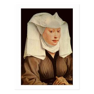 Cartão Postal Retrato de uma jovem mulher em um chapéu fixado,