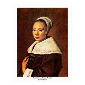 Cartão Postal Retrato de uma jovem mulher por Hals Frans