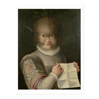 Cartão Postal Retrato de uma menina coberta no cabelo