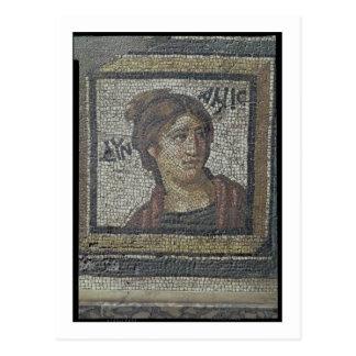 Cartão Postal Retrato de uma mulher, detalhe de um pavimento de