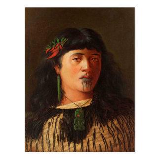 """Cartão Postal """"Retrato de uma mulher maori nova com Moko"""