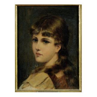 Cartão Postal Retrato de uma rapariga (óleo no painel)