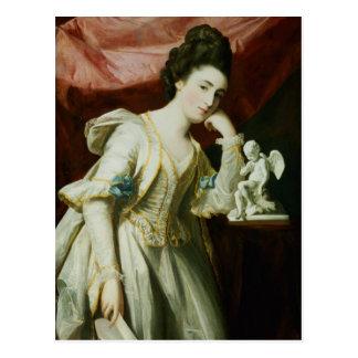 Cartão Postal Retrato de uma senhora com uma estatueta do Cupido