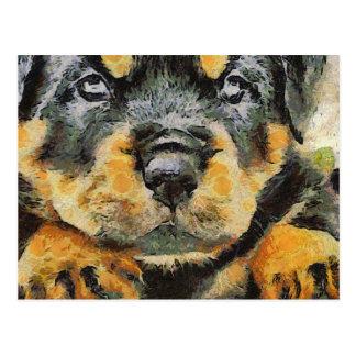 Cartão Postal Retrato do filhote de cachorro de Rottweiler