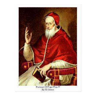 Cartão Postal Retrato do papa Pius V. Por El Greco
