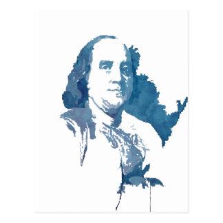 Cartão Postal Retrato do pop art de Ben Franklin no azul