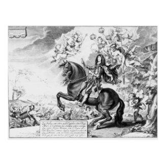 Cartão Postal Retrato equestre de Charles II com deuses