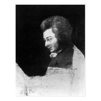 Cartão Postal Retrato inacabado de Wolfgang Amadeus Mozart
