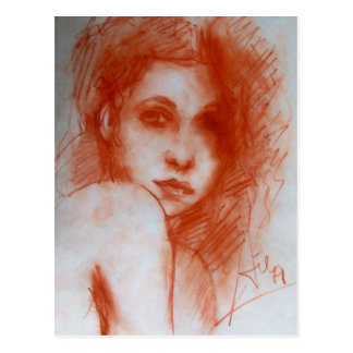 Cartão Postal Retrato ROMÂNTICO da BELEZA/mulher no Sepia Brown