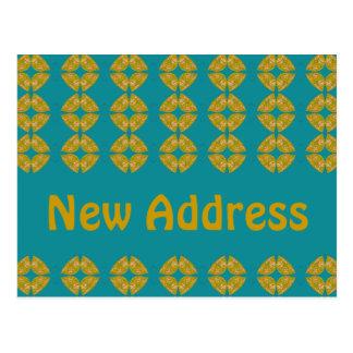 Cartão Postal retro groovy do endereço novo