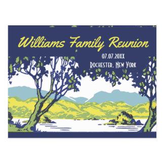 Cartão Postal Reunião cénico da árvore genealógica do vintage