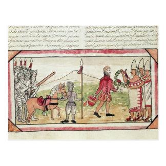 Cartão Postal Reunião de Hernando Cortes e de Montezuma