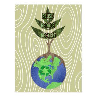 Cartão Postal Reusar reduz o reciclar
