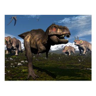 Cartão Postal Rex do tiranossauro atacado pelo dinossauro do