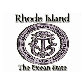 Cartão Postal Rhode - estado do oceano do selo do estado de ilha