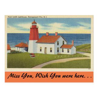 Cartão Postal Rhode - ilha, farol de Judith do ponto