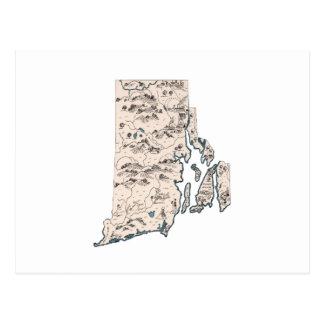 Cartão Postal Rhode - mapa da imagem do vintage da ilha