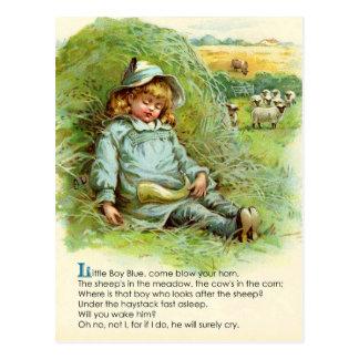 Cartão Postal Rima de berçário azul de Little Boy