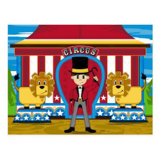 Cartão Postal Ringmaster e leões do circo de Bigtop