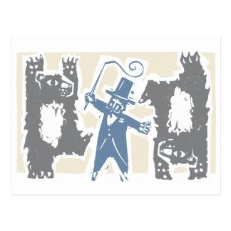 Cartão Postal Ringmaster e ursos