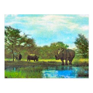 Cartão Postal Rinoceronte do vintage da réplica, sul - reserva