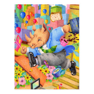 Cartão Postal Rinoceronte ocupado