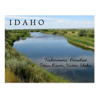 Cartão Postal Rio de Teton, Idaho, PC do paraíso dos pescadores