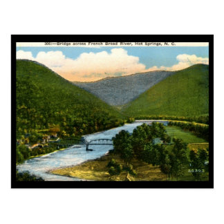 Cartão Postal Rio largo francês, Hot Springs, vintage do NC