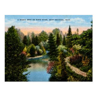 Cartão Postal Rio rápido Escanaba, Michigan