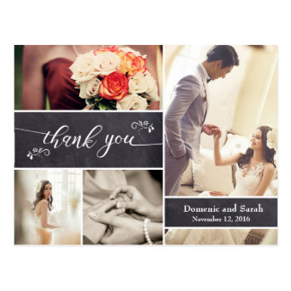 Cartão Postal Riscado, obrigado rústico do casamento da colagem