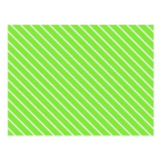 Cartão Postal Riscas diagonais - verde limão e branco