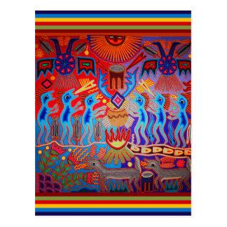 Cartão Postal Ritual Huichol do Shaman