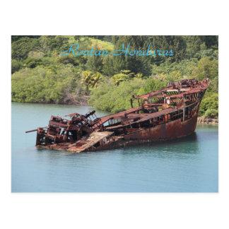 Cartão Postal Roatan Honduras, Shipwreck ao longo da costa