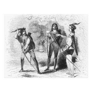 Cartão Postal Robin Hood, escarlate e John