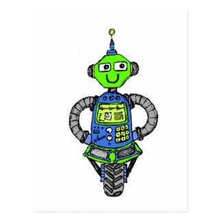 Cartão Postal Robô, azul e verde de Arnie