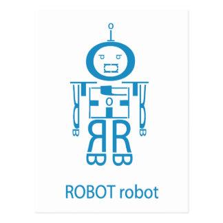 Cartão Postal Robô azul irritado