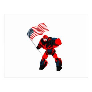 Cartão Postal Robô com os meninos da bandeira americana para 4o