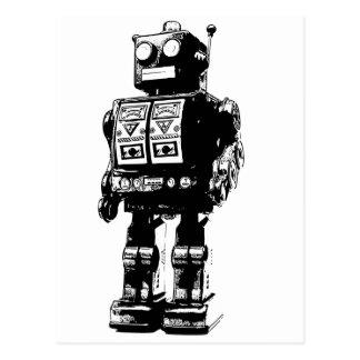 Cartão Postal Robô preto e branco do vintage