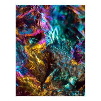 Cartão Postal Rocha de cristal lisa do óleo do arco-íris