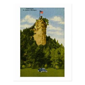 Cartão Postal Rocha do castelo, rua Ignace, Michigan