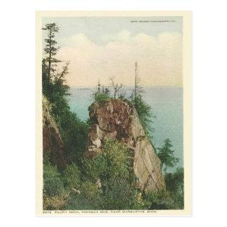 Cartão Postal Rocha Marquette Michigan do púlpito do vintage